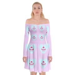 Pink Cupcake Off Shoulder Skater Dress