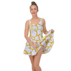 Skin1 White Marble & Yellow Marble Inside Out Dress