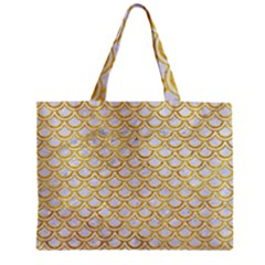 Scales2 White Marble & Yellow Marble (r) Zipper Mini Tote Bag