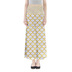 Scales1 White Marble & Yellow Marble (r) Full Length Maxi Skirt