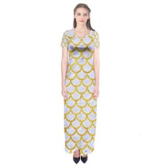 Scales1 White Marble & Yellow Marble (r) Short Sleeve Maxi Dress