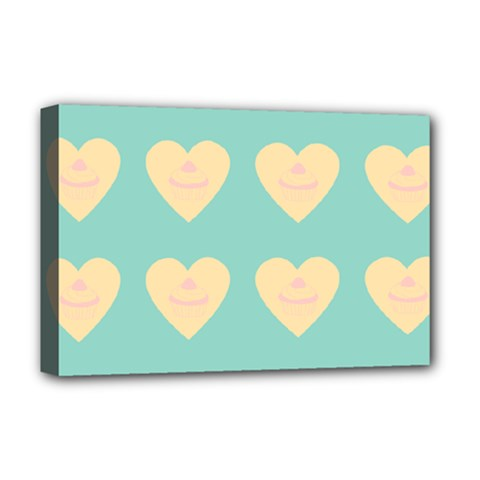 Teal Cupcakes Deluxe Canvas 18  X 12
