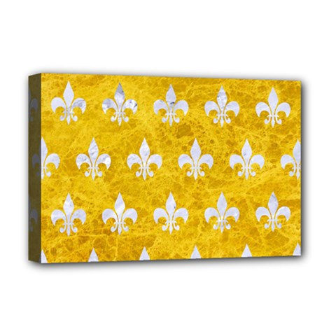 Royal1 White Marble & Yellow Marble (r) Deluxe Canvas 18  X 12