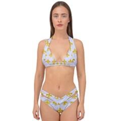 Royal1 White Marble & Yellow Marble Double Strap Halter Bikini Set