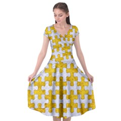 Puzzle1 White Marble & Yellow Marble Cap Sleeve Wrap Front Dress