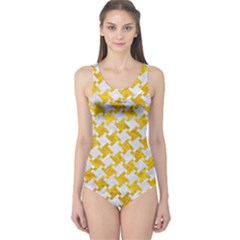 Houndstooth2 White Marble & Yellow Marble One Piece Swimsuit