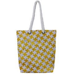 Houndstooth2 White Marble & Yellow Marble Full Print Rope Handle Tote (small)