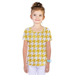 Houndstooth1 White Marble & Yellow Marble Kids  One Piece Tee