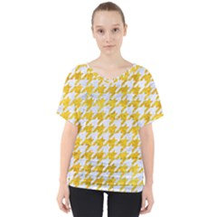 Houndstooth1 White Marble & Yellow Marble V Neck Dolman Drape Top