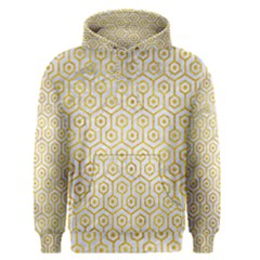 Hexagon1 White Marble & Yellow Marble (r) Men s Pullover Hoodie