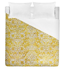 Damask2 White Marble & Yellow Marble Duvet Cover (queen Size)