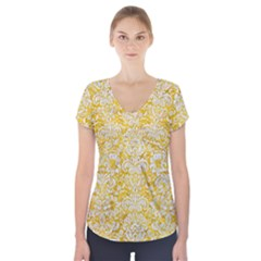 Damask2 White Marble & Yellow Marble Short Sleeve Front Detail Top
