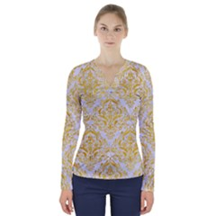 Damask1 White Marble & Yellow Marble (r) V Neck Long Sleeve Top