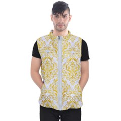 Damask1 White Marble & Yellow Marble (r) Men s Puffer Vest