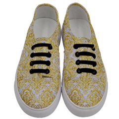 Damask1 White Marble & Yellow Marble (r) Men s Classic Low Top Sneakers