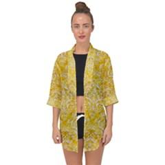 Damask1 White Marble & Yellow Marble Open Front Chiffon Kimono
