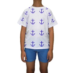 Royal Anchors On White Kids  Short Sleeve Swimwear