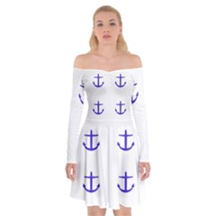 Royal Anchors On White Off Shoulder Skater Dress