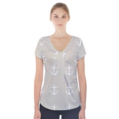 Lt Grey Anchors Short Sleeve Front Detail Top