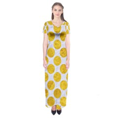 Circles2 White Marble & Yellow Marble (r) Short Sleeve Maxi Dress