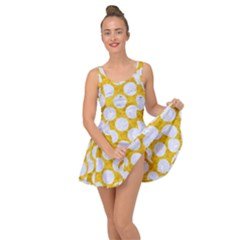 Circles2 White Marble & Yellow Marble Inside Out Dress