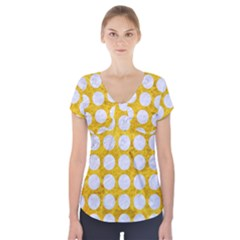 Circles1 White Marble & Yellow Marble Short Sleeve Front Detail Top