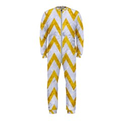 Chevron9 White Marble & Yellow Marble (r) Onepiece Jumpsuit (kids)