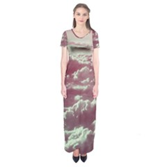 In The Clouds Pink Short Sleeve Maxi Dress