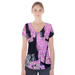 Weird Smile Short Sleeve Front Detail Top