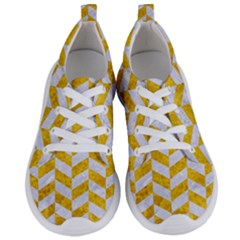 Chevron1 White Marble & Yellow Marble Women s Lightweight Sports Shoes