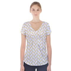 Brick2 White Marble & Yellow Marble (r) Short Sleeve Front Detail Top