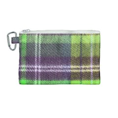 Neon Green Plaid Flannel Canvas Cosmetic Bag (medium)