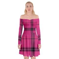 Dark Pink Plaid Off Shoulder Skater Dress