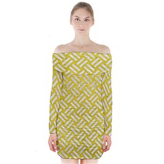 Woven2 White Marble & Yellow Leather Long Sleeve Off Shoulder Dress