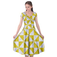 Triangle1 White Marble & Yellow Leather Cap Sleeve Wrap Front Dress