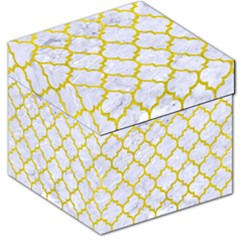 Tile1 White Marble & Yellow Leather (r) Storage Stool 12