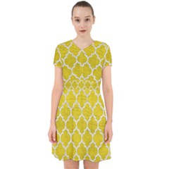 Tile1 White Marble & Yellow Leather Adorable In Chiffon Dress