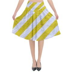Stripes3 White Marble & Yellow Leather (r)stripes3 White Marble & Yellow Leather (r) Flared Midi Skirt