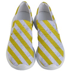 Stripes3 White Marble & Yellow Leather Women s Lightweight Slip Ons