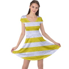 Stripes2white Marble & Yellow Leather Cap Sleeve Dress