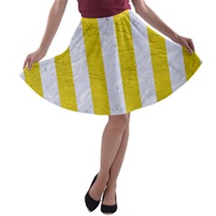 Stripes1 White Marble & Yellow Leather A Line Skater Skirt