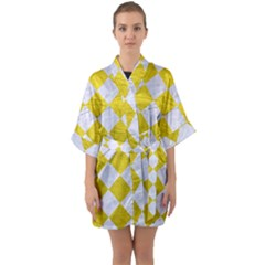 Square2 White Marble & Yellow Leather Quarter Sleeve Kimono Robe