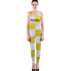 Square1 White Marble & Yellow Leather One Piece Catsuit