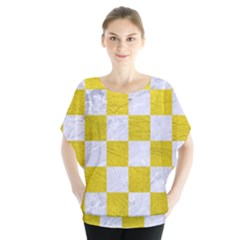 Square1 White Marble & Yellow Leather Blouse