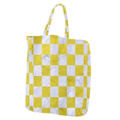 Square1 White Marble & Yellow Leather Giant Grocery Zipper Tote