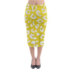 Skin5 White Marble & Yellow Leather (r) Midi Pencil Skirt