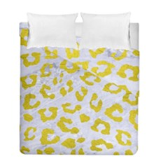 Skin5 White Marble & Yellow Leather Duvet Cover Double Side (full/ Double Size)