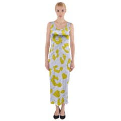 Skin5 White Marble & Yellow Leather Fitted Maxi Dress