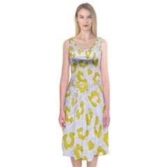 Skin5 White Marble & Yellow Leather Midi Sleeveless Dress