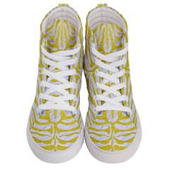 Skin2 White Marble & Yellow Leather (r) Women s Hi Top Skate Sneakers